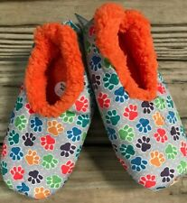 L 9-10 Snoozies Multi Color Paw Prints Cats Dogs Soft Slippers Shoes Women NEW