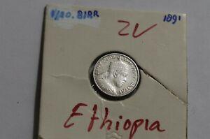 ETHIOPIA 1/20 BIRR 1891 SILVER B38 O40