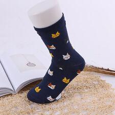 Women Lovely Cute Cat Socks Animal Cartoon Cotton WINTER Socks 1 Pair NAVY BLUE
