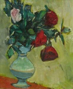 LISTED Frederick Serger OLD Expressionist Four Roses Still Life Oil Painting NR