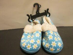 Toddler Girls Slippers Medium 7 - 8 Blue Flowers Slip On House Shoes