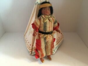 """Antique Miniature 6"""" composition Native American Jointed Doll All Original"""