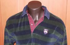 Tommy Hilfiger Velour Striped Long Slv Polo Rugby Green Blue vintage Size M  M58