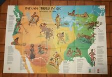 Vintage Large Indian Tribes in 1650 poster Scholastic Magazine Cherokee Apache