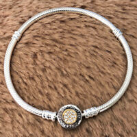 Authentic 925 Sterling Silver Moments Logo Clasp Snake Chain Bracelet Clear CZ