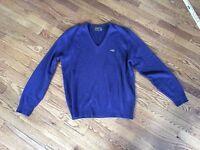 Vintage Men's SWINGSTER World of Wearables V-Neck Sweater Size Large Navy Blue