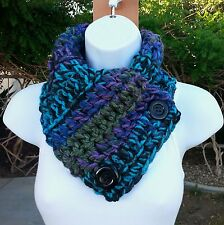 NECK WARMER SCARF Black Purple Blue Green Soft Crochet Knit Buttoned Winter Cowl