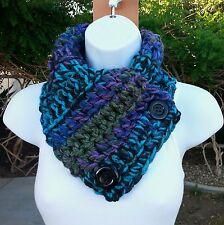 NECK WARMER SCARF Black Purple Blue Green Soft Crochet Knit Buttoned Winter Cowl