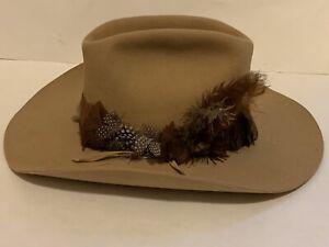 Vintage Resistol Self Conforming Cowboy Hat XXX Beaver 7 1/8 feather Band Sand