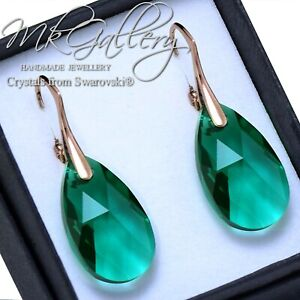 Rose Gold Plated 925 Silver Earrings 22mm Pear Crystals from Swarovski® Emerald