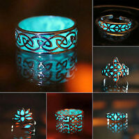Unisex Fashion Luminous Glow in the Dark Punk Band Ring Women Men Gift Jewelry p