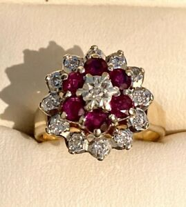 RUBY & DIAMOND THREE TIER CLUSTER RING H/MARK 9 CT SIZE K WEIGHT 4.5gms SPARKLES