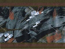 Metallic Silver Black Brush Stroke Geometric Abstract Modern Wall paper Border