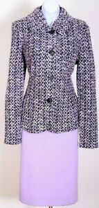 ST.JOHN Womens Tweed Purple Black White Boucle NWT Jacket & Purple Skirt Sz 14