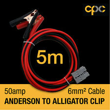 5m Alligator Battery Clamp 50A ANDERSON PLUG style Cable 4x4 4WD Van solar 12v