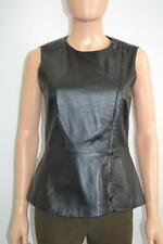 Theory 'Kuvana' Navy Leather Sleeveless Top/Vest, Asymmetric Zipper, Size S