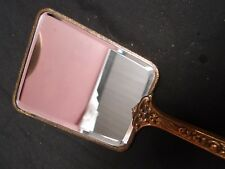 Antique Vintage 1950s Gilt with Tapestry Flowers Art Deco Design Hand Mirror