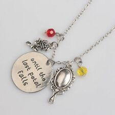 Rose Mirror Crystal Charms Necklace Until The Last Petal Falls Letter Jewelry