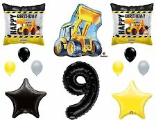 12pc CONSTRUCTION set BALLOONS new 9th NINTH birthday TRACTOR party FAVORS truck
