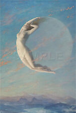 WITCH WICCAN NEW MOON SELENE NUDE GODDESS MYSTICAL VINTAGE CANVAS  ART PRINT