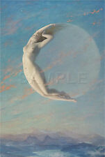 NEW MOON SELENE GODDESS WITCH WICCAN NUDE SKY VINTAGE CANVAS ART PRINT BIG