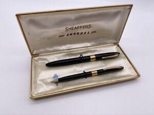 Vintage SHEAFFER'S Snorkel Fountain Pen & Mechanical Pencil Set Black White Dot
