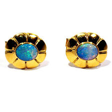 Opal Wing Back Cufflinks Solid 14K Yellow Gold Jelly