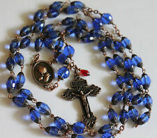 "Antique Copper Sapphire Blue Oval Faceted Crystal Praying Hands 32"" Rosary"