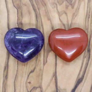 Amethyst Heart and Red Jasper Heart Gift Set 25mm Love Valentines Present