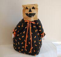 Halloween Decorative Plush Doll Stand Alone w/ Fabric Dress Paper Bag Head Bows