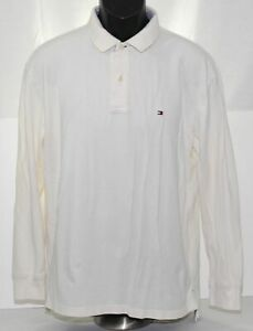 Tommy Hilfiger Mens Large Polo Shirt Long Sleeve Solid White Cotton Flag Logo
