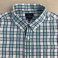 Croft&Barrow Button Up Shirt Mens Large Short Sleeve Blue Green Plaid Casual
