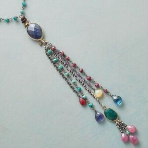 "NEW $298 Sundance 18"" Ruby Emerald Pink Sapphire Opal Boho Beaded Necklace NWT"