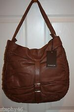 NEW! NWT! TREESJE Coffee Brown Leather BLISS Ruched Hobo Shoulder Bag $598