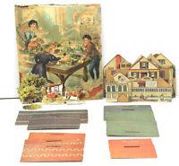 Antique 1897 Pretty Village A Toy Town McLoughlin Bros Set. Buildings Parts+++++