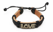 """Adjustable Black Leather Bracelet with Metal """"Love"""" Text with a Heart"""