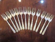 """Set Of 12 Vintage Sterling Silver Gorham Heart Salad Forks 7"""" 20.31 OZ"""