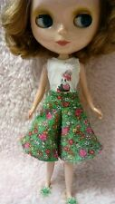 Blythe Doll Outfit Clothing Flowers Print green Pants
