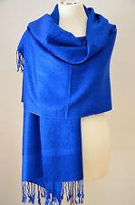 Pashmina Schal Tuch Stola Paisley gewebt 100%25 Viskose Royalblau ca.190x72cm