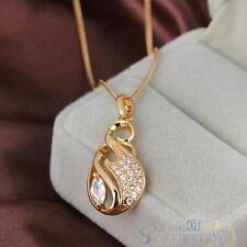 Fashion Crystal Necklace Woman Diamante Pendant Chain Jewelry 18k Gold Filled