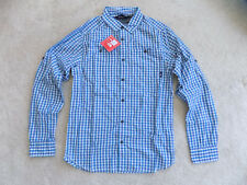 NEW MENS SMALL TNF NORTH FACE HUDSON WOVEN SHIRT HIKING BACKPACKING BLUE PLAID