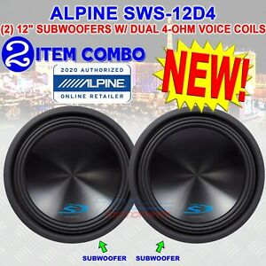 """(2) ALPINE SWS-12D4 TYPE-S 12"""" SUBWOOFERS WITH DUAL 4-ohm VOICE COILS 3000 WATTS"""