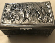 Antique Embossed Silver Plated Footed Music Box Switzerland Jewelry Box Mark Jb