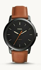 Fossil Minimalist Black Dial Brown Leather Men's Watch - FS5305