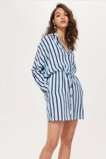 Topshop Striped Shirt Dress Light Blue InstoreNow £39 Uk 14