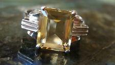 14 K WHITE GOLD CITRINE ENGAGEMENT  #1120