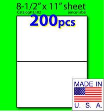 L102, 200 Half Sheet Labels, Laser Inkjet, 8-1/2x5-1/2