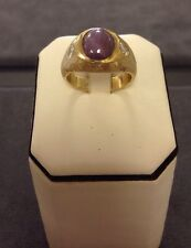 Vintage 14K Yellow Gold Mens Ring With Cabochon Ruby And 2 Diamonds