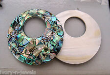 "2.5"" 65mm MOP Mosaic Paua Abalone Shell Reversible INTERCHANGEABLE Donut Pendant"