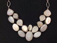 Natural Multi-Stone White Quartz Necklace with Metal Chain